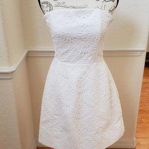 Alice + Olivia Strapless Eyelet White dress